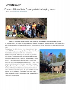 Upton Daily Park Serve day article 2015